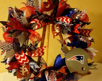 New England Patriots Deco Mesh and Ribbon Wreath