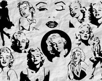 12 Marilyn Monroe Silhouettes   Marilyn Monroe SVG cut files   printable   decoration   vectors   instant download   cliparts   digital