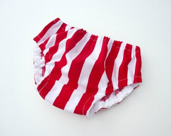 Baby stripes diaper cover-White&red stripes nappy cover-Baby unisex bloomers-Stripes bloomers-Baby July 4th bloomers