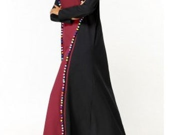 Two Tone Frilled Pom Pom Maxi Dress
