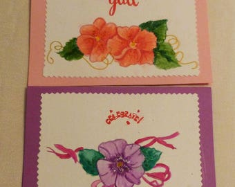 Handmade Greeting Card, Set of 2 hand painted,  5x7 All Occasion Greeting Cards, Floral Greeting Cards, Made in the USA, #49