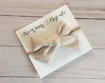 Hand Tied Blush Shimmer Bow, Clip and Headband