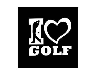 Golf Vinyl Decal, I Love Golf, Choose Black or White Decal, Sport, Car Decal, Laptop Decal, Yeti Decal