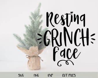 Resting Grinch Face Cutting File Grinch Christmas Cricut Cut File Free Commercial Use