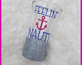 Glitter Shot Glass - Nautical Shot Glass - Feelin Nauti - Anchor Shot Glass - Bridal Party Gift