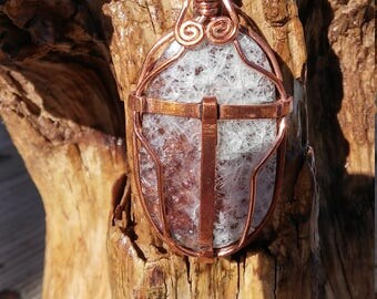 Utah banded opal and copper pendant