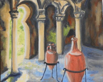Original oil - painting the Roman baths of Mallorca in Spain Palma - Original Oil Painting - The Roman Baths of Majorca in Spain
