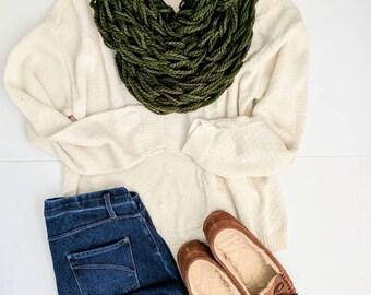 Green Arm Knit Scarf | Forest Green Scarf | Dark Green Infinity Scarf | Dark Green Arm Knit Scarf | Neck Warmer | Valentine's Day Gifts |