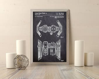 Star Wars TIE Bomber Patent - Instant Download - Digital Download - Printable Artwork - Wall Decor, Star Wars Art