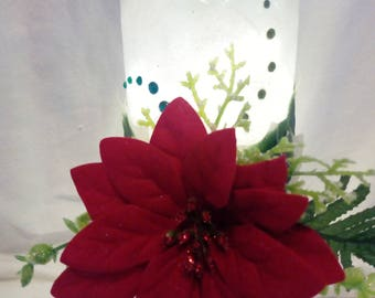 Hand decorated frosted wine bottle with Red poinsettia & LED fairy lights