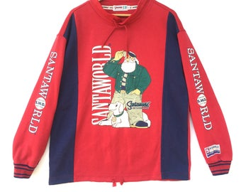 Captain santa Sweatshirt Multicolour Big Logo Embroidery Sweat Medium Size Jumper Pullover Jacket Sweater Shirt Vintage 90's