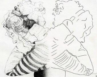 Framed Original Pen and Ink drawing | Divided Minds