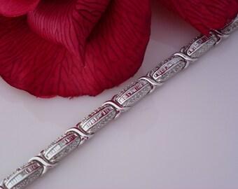 Diamond Bracelet in Platinum Overlay 925 Sterling Silver