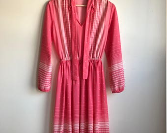 1970s Long Sleeve Hot Pink Polyester Neck Tie Dress