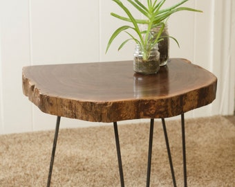 Live edge walnut end table, modern table, slab table, hairpin legs, vintage modern