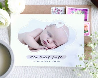 Ornate Framed Personalised Baby Thank You Announcement - A6 Linen Postcard