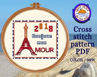 Paris cross stitch / boho cross stitch - funny cross stitch, modern cross stitch, Paris wall decor, love wall art