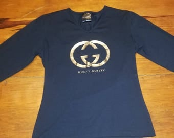 New Gucci Guilty Long Sleeve Blank V Neck, Silver Logo,Womens Large. Without Tags.  Free Shipping