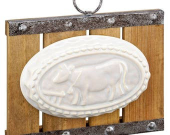Ceramic Molded Cow Sign
