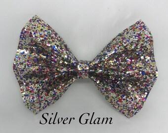 Silver Glam- Glitter Bow