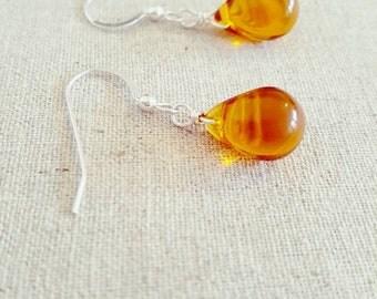 Amber Earrings • Amber Dangle Earrings • Amber Glass Drop Earrings • Amber Glass Dangle Earrings • Amber Silver Earrings • Teardrop Earrings