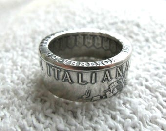 Silver Italy Coin Ring  -Rings from Coins - Silver ring of Italy coins  - Italian jewelry - Coin Rings from Italian 500 Lire - Jewelry
