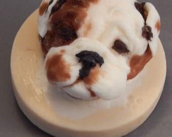 Bulldog puppy-hand carved bar soap