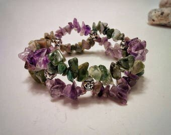 Amethyst and Jasper bracelet, calming meditative chipped gemstones bracelet, color & rich texture chipped stone for her, gift for loved one