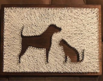 Dog and Cat Silhouette String Art