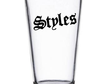 AJ Styles Logo WWE Wrestler Wrestling Pint Wine Glass Tumbler Alcohol Drink Cup Barware Squared Circle