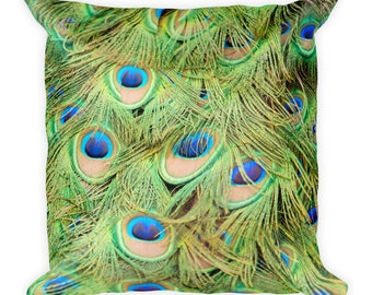 Peacock Pillow, Animal Print, Feather Photo, Bird Lover Gift Colorful Decorative Toss Throw Cushion For Couch, Bed, Washable, Nature Decor