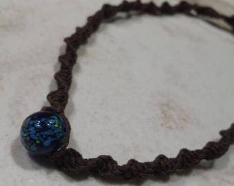 blue and brown hemp necklace
