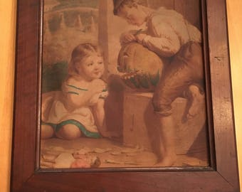 Antique Early Century Children With Pumpkin Picture