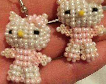 Hello kitty beaded earrings