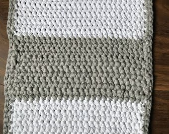 Handmade recycled cotton crochet bath mat