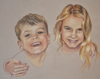 Custom-made, hand-drawn, original portrait of two people, taken from photo