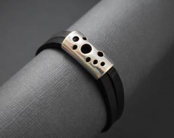 Bracelet- wraparound black leather silver accent