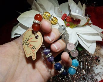 """Magnificent Chakra Healing Chain Bracelet, with 7 Chakra Balancing Gemstones, SP Rhinestone spacers, approx 8-11"""" length with SP Heart Chain"""