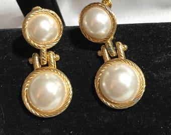 Vintage drop earrings screw backs