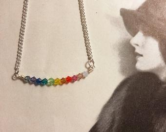 Free US shipping-Rainbow crystal bar necklace, Swarovski