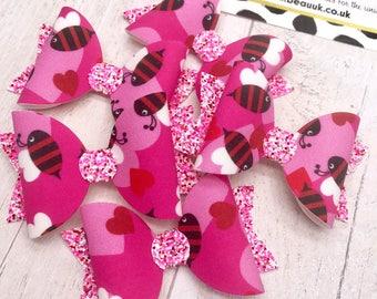 Bee mine love valentines fabric & glitter Medium hair bow clip headband hair accessories nylon hair piece