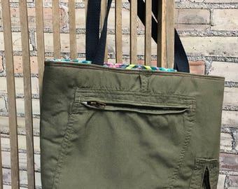 Repurposed Flight Suit Tote Bag-Military uniform Tote Bag ***Ready to Ship***
