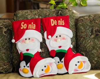 Whimsical Christmas Stockings Personalized Burlap Stockings Christmas Stocking Santa Snowman Children's Stockings Embroidered Name