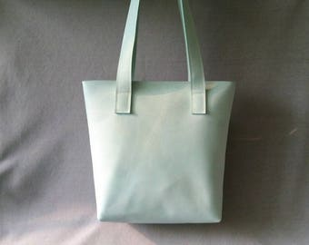 Leather green Shopper, leather bag, handmade
