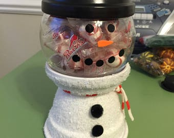 Terra Cotta Snowman Candy Jar