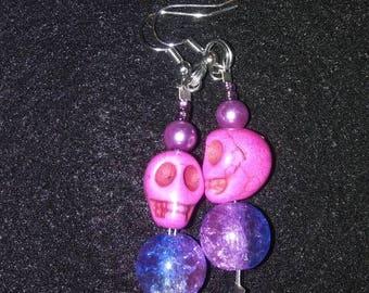 Pink Skull Earrings #1 Mermaid Pink Ladies