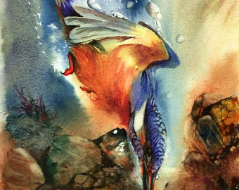 Lightning Strike - kingfisher giclee print