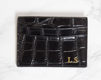 Customised Genuine Croc Leather Double Card Holder in Black,  Personalised Monogrammed initials mens and womens business card wallet