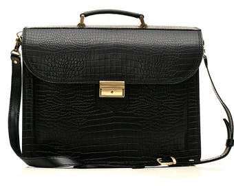 Black Leather Crocodile Briefcase Leather Laptop Bag Black Business Bag Leather Messenger Bag Black Crocodile Bag A4 Leather Briefcase