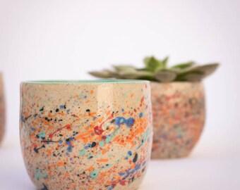 Handmade ceramic tumbler, pottery tumbler, wheel-thrown tumbler, tableware, green